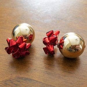 RED BOW AND GOLD DOUBLE SIDED EARRINGS